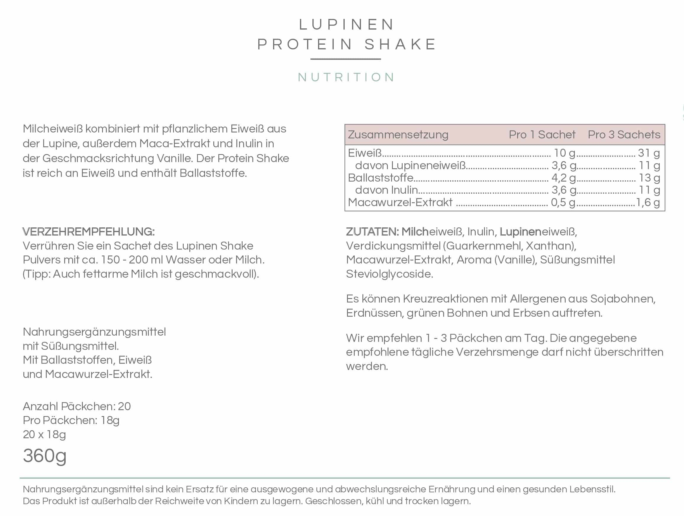 LUPINEN PROTEIN SHAKE - Vanille 20 Sachets
